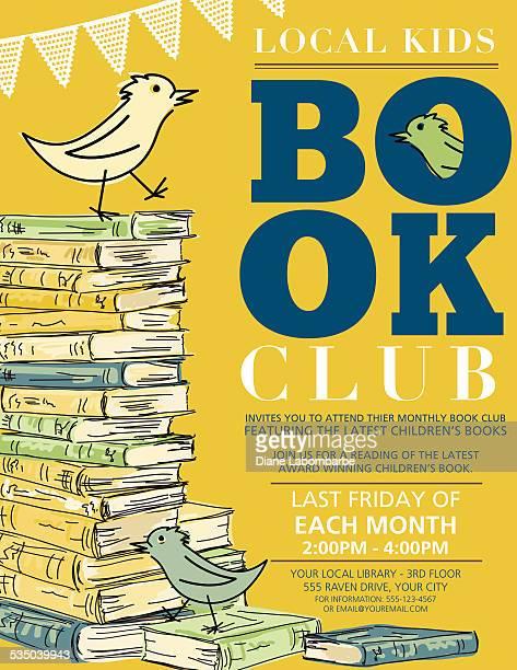 ilustraciones, imágenes clip art, dibujos animados e iconos de stock de habitación bien iluminada, de estilo retro para niños club de libros invitación póster - leer