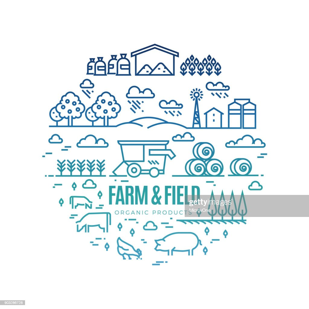 Bright rural landscape and agriculture farming thin line icons - organic products label concept