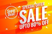 bright sale background poster in orange color