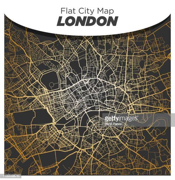 暗い黒の背景にロンドン中心部の明るい光沢のあるゴールドマップ - ロンドン市点のイラスト素材/クリップアート素材/マンガ素材/アイコン素材