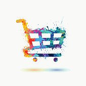 Bright shopping trolley icon of watercolor splash