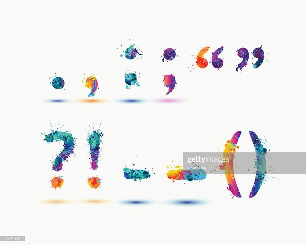 Bright special symbols in rainbow splash paint