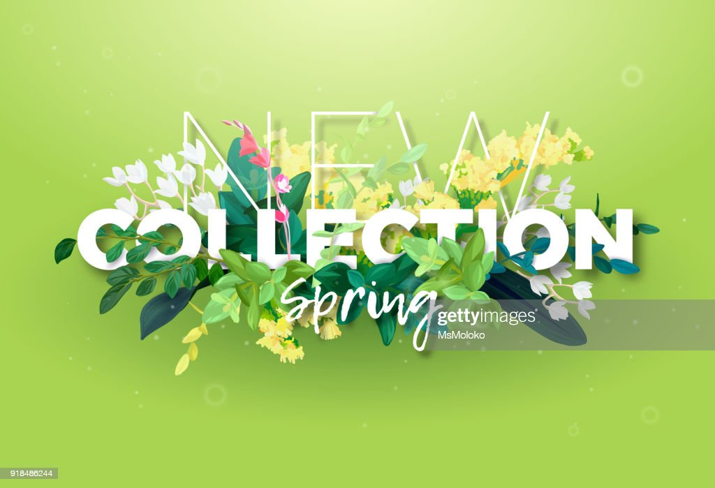Bright spring design of an ad with a botanical bouquet of flowers, leaves and plant branches on a green background. Typography with the effect of 3d. Integrated inscription, vector illustration