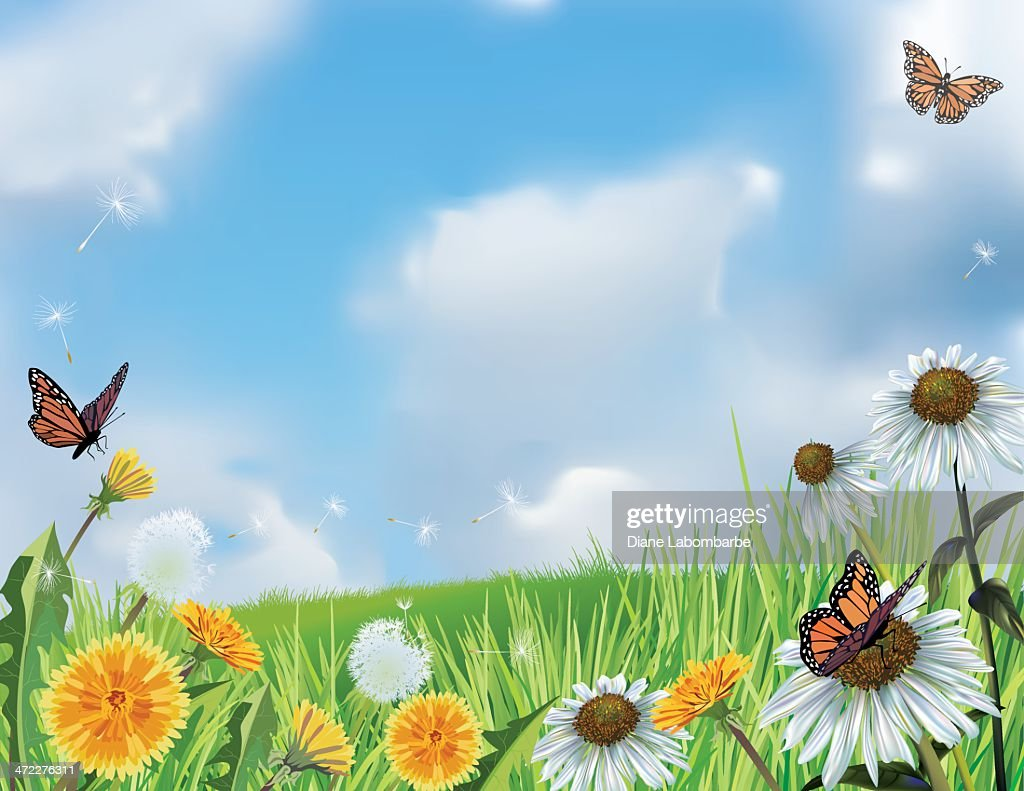Bright Spring Hillside With Flowers Vector Art Getty Images