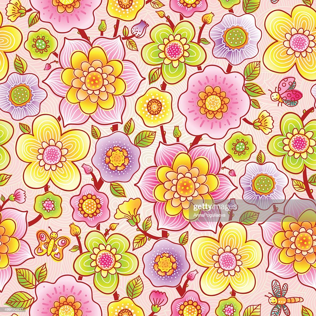 Bright Spring Seamless Pattern With Flowers Vector Art Getty Images