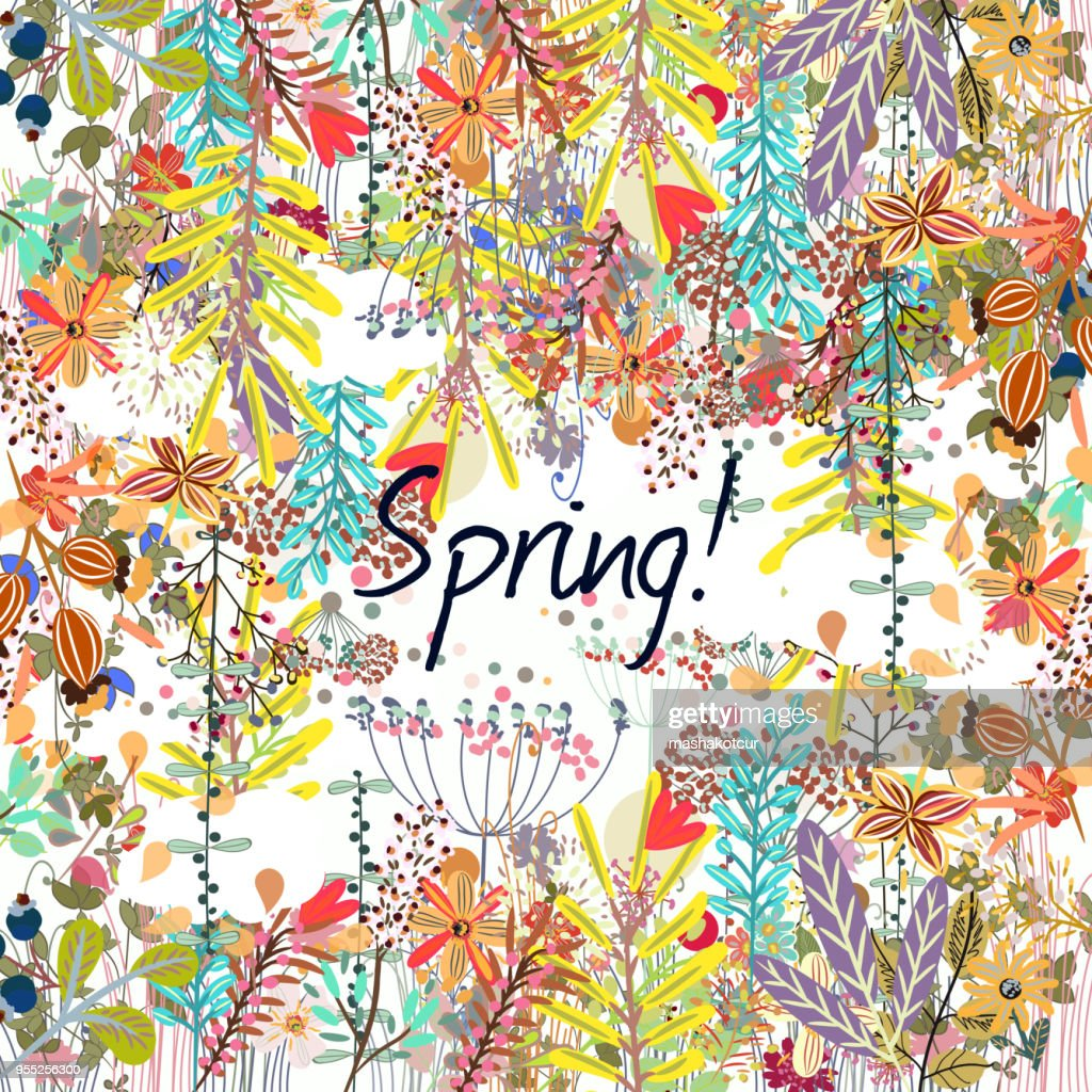 Bright spring vector background with rustic flowers
