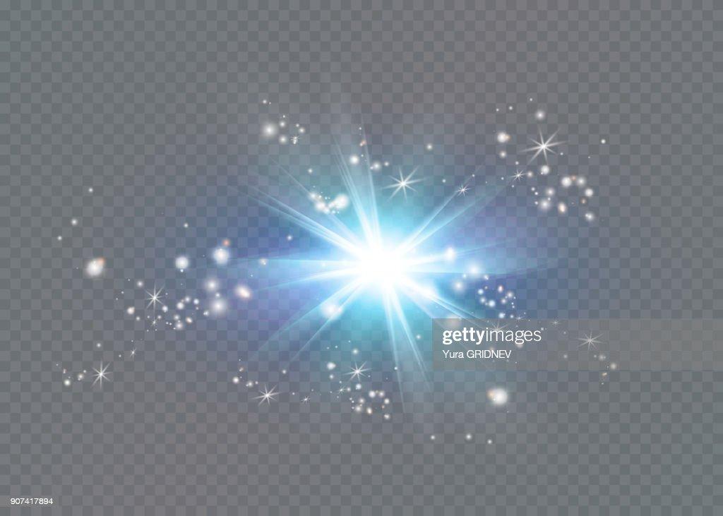 Bright star. Translucent shine sun, bright flare