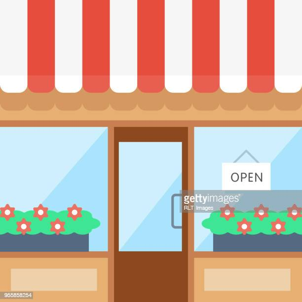 bright storefront illustration - open sign stock illustrations, clip art, cartoons, & icons