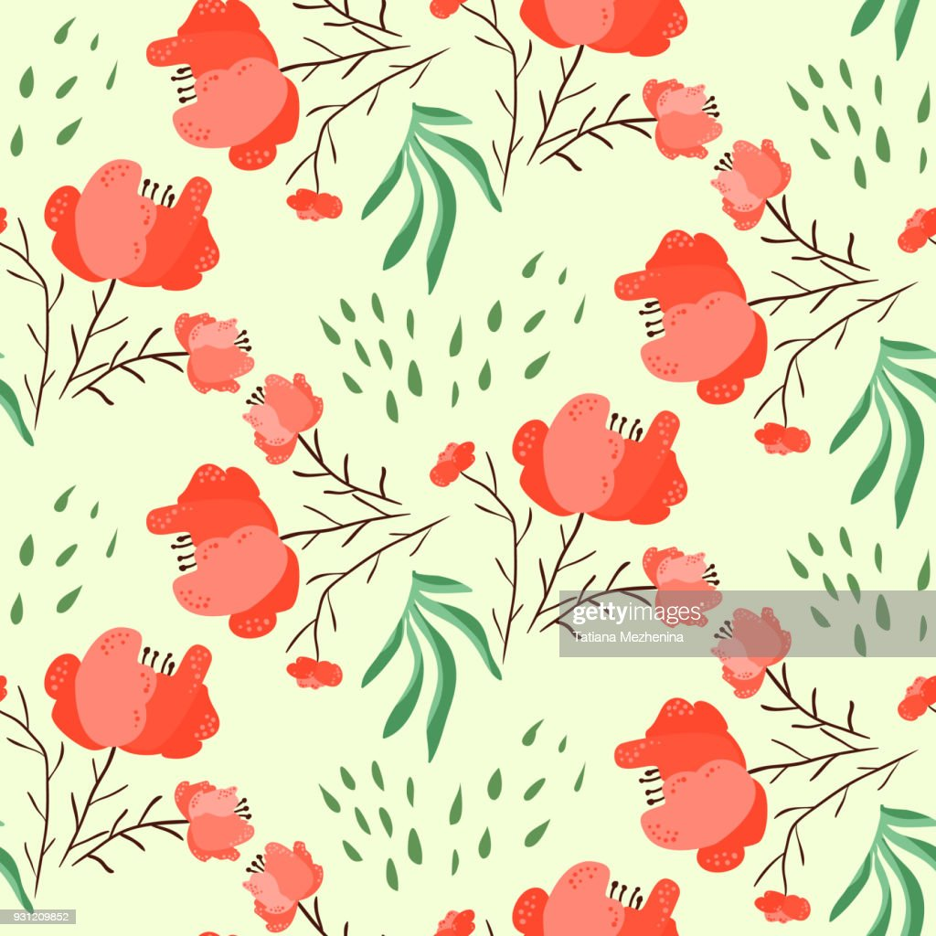 Bright summer pattern with red poppy flowers