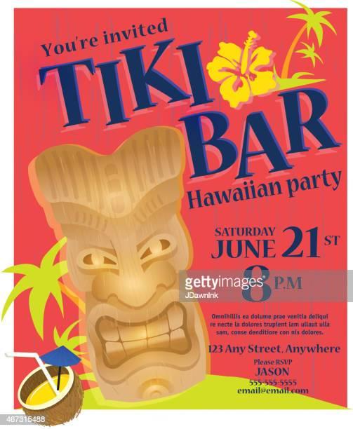 bright summer tiki bar hawaiian party invitation poster design template - coconut palm tree stock illustrations, clip art, cartoons, & icons