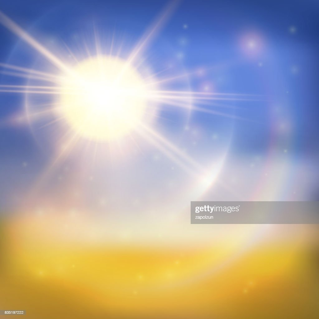 Bright sun summer background