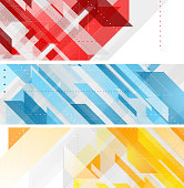 Bright technology geometric abstract banners
