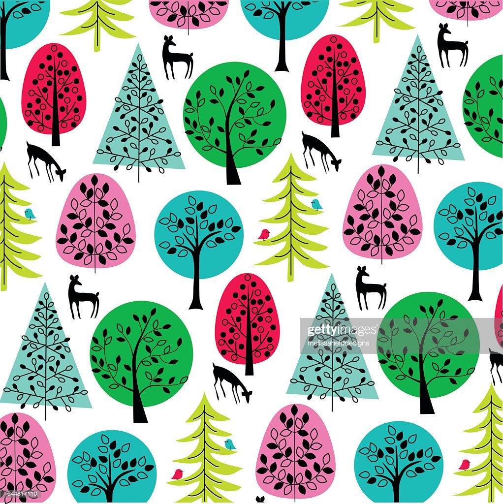 bright trees with deer and birds