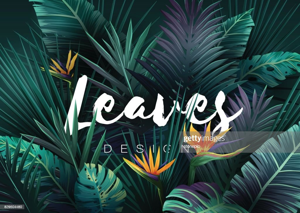 Bright tropical background with jungle plants. Exotic pattern with palm leaves