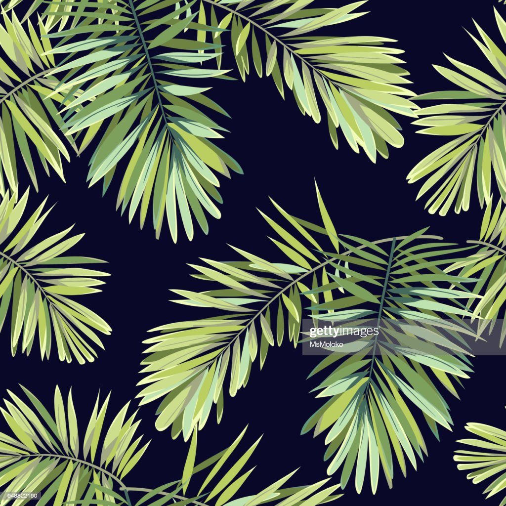 Bright tropical background with jungle plants. Seamless vector exotic pattern with green phoenix palm leaves