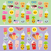 Bright tropical card design, fashion patches badges stickers. Applicable for Banners, Posters. pineapple, bubble tea smoothie cup, ice cream, cake, sunglasses Kawaii cute cat, hamster, sun. Vector