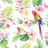 Bright tropical leaves with flowers seamless vector print
