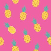 bright tropical pattern with pineapples