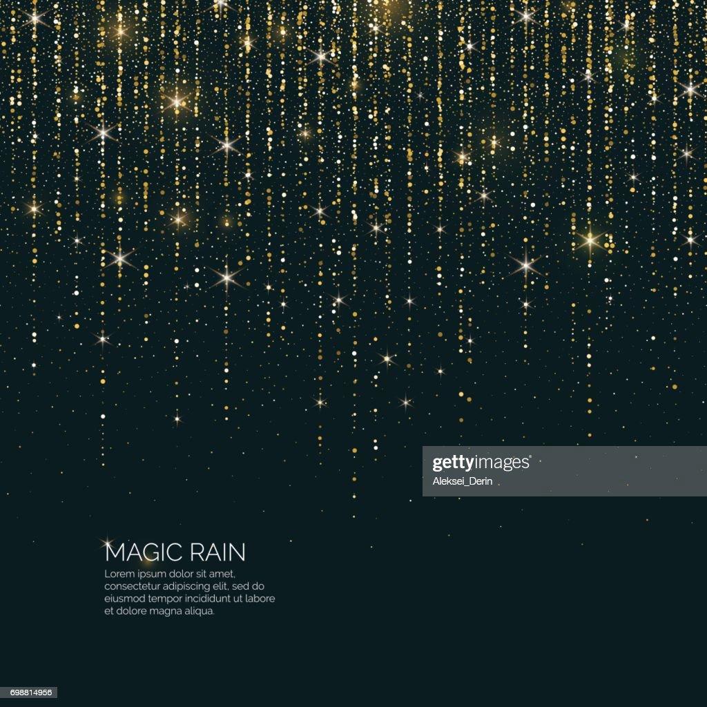 Bright vector illustration Magic rain of sparkling glittery particles lines