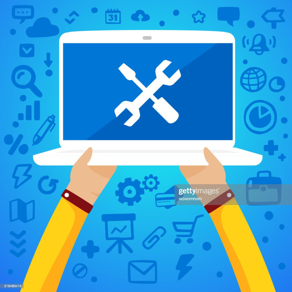 Bright vector illustration two male hands holding a laptop with