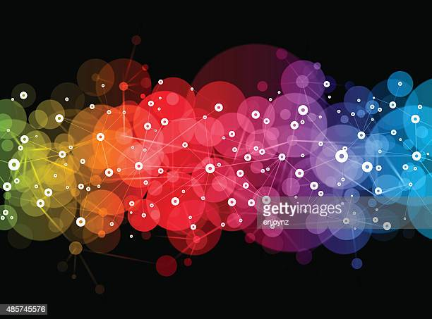 bright vector network design - colors of rainbow in order stock illustrations