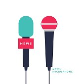 Bright vector poster with news microphones and a field for text on bright background. Vector illustration in flat style