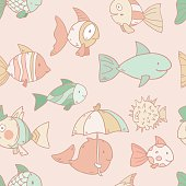 Bright vector seamless pattern with fishes
