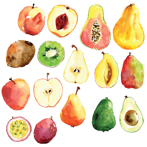 Bright Vector Watercolor Hand Drawn Fruits: Apple, Pear, Peach, Wall Art