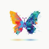 Bright watercolor butterfly icon