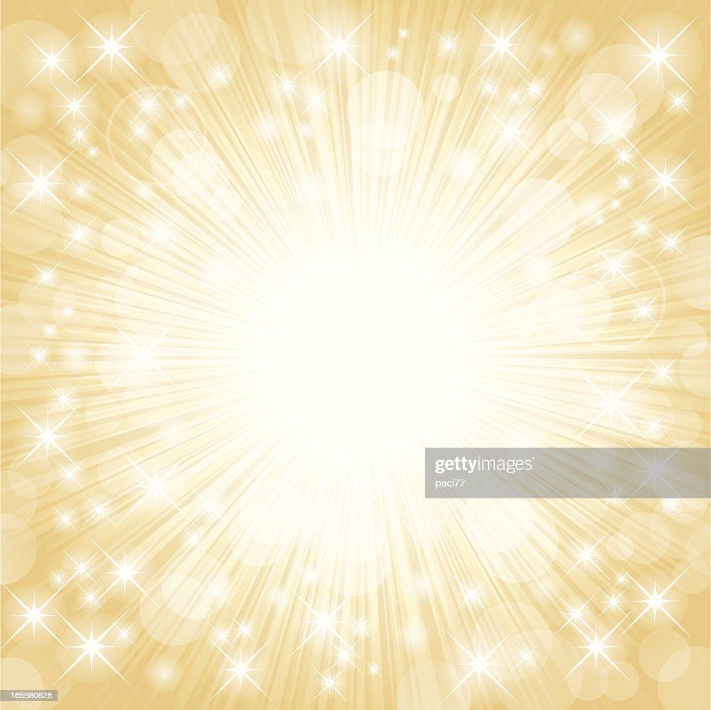 Bright white firework lights on golden background