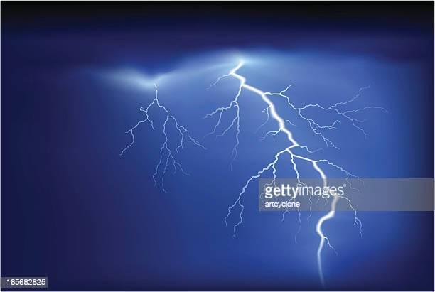 bright white lightning strike on blue sky - storm stock illustrations