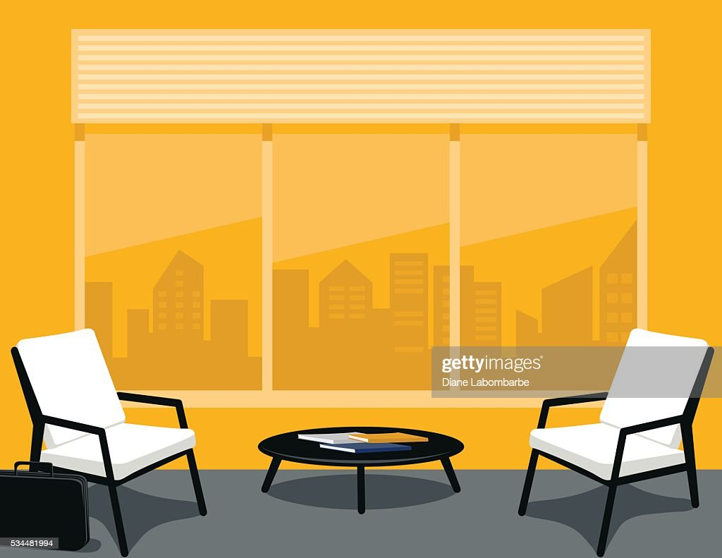 Bright yellow and Grey Office or waiting Room
