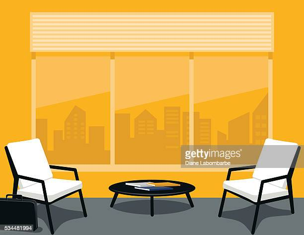 bright yellow and grey office or waiting room - domestic room stock illustrations, clip art, cartoons, & icons