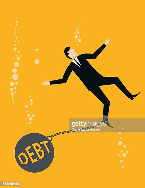 Amarelo vivo conceito de negócios-Homem de negócios Se afogando em dívida