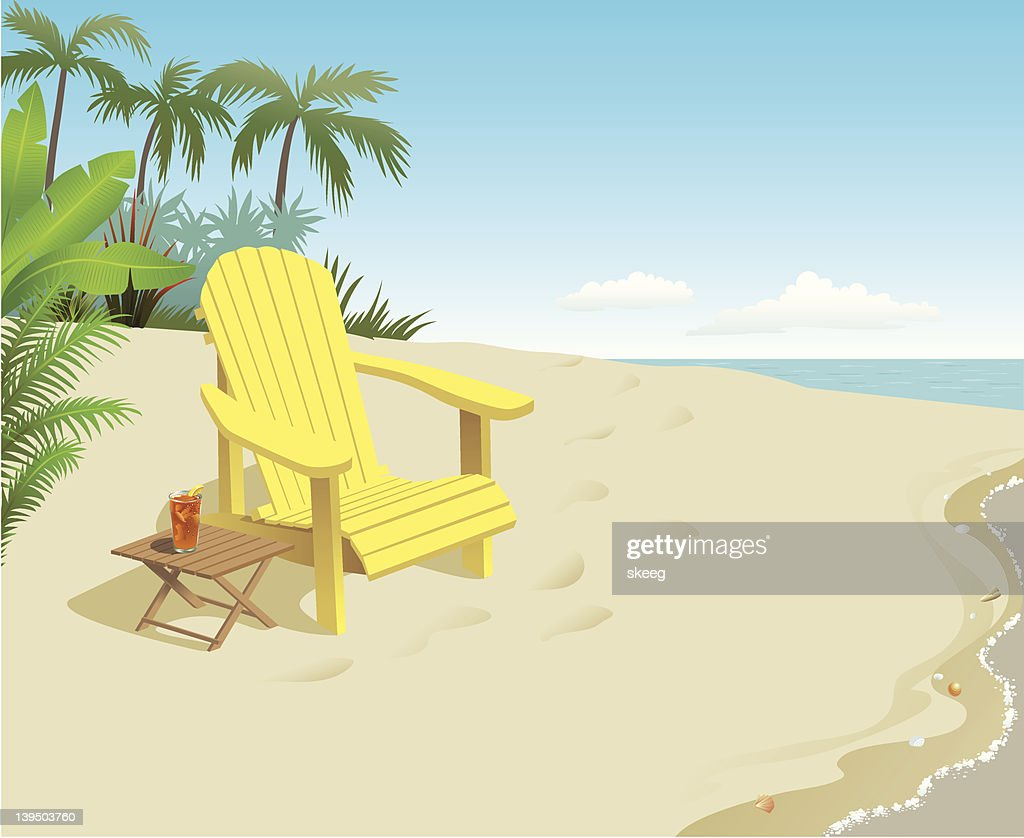 A bright yellow chair with a drink on the beach