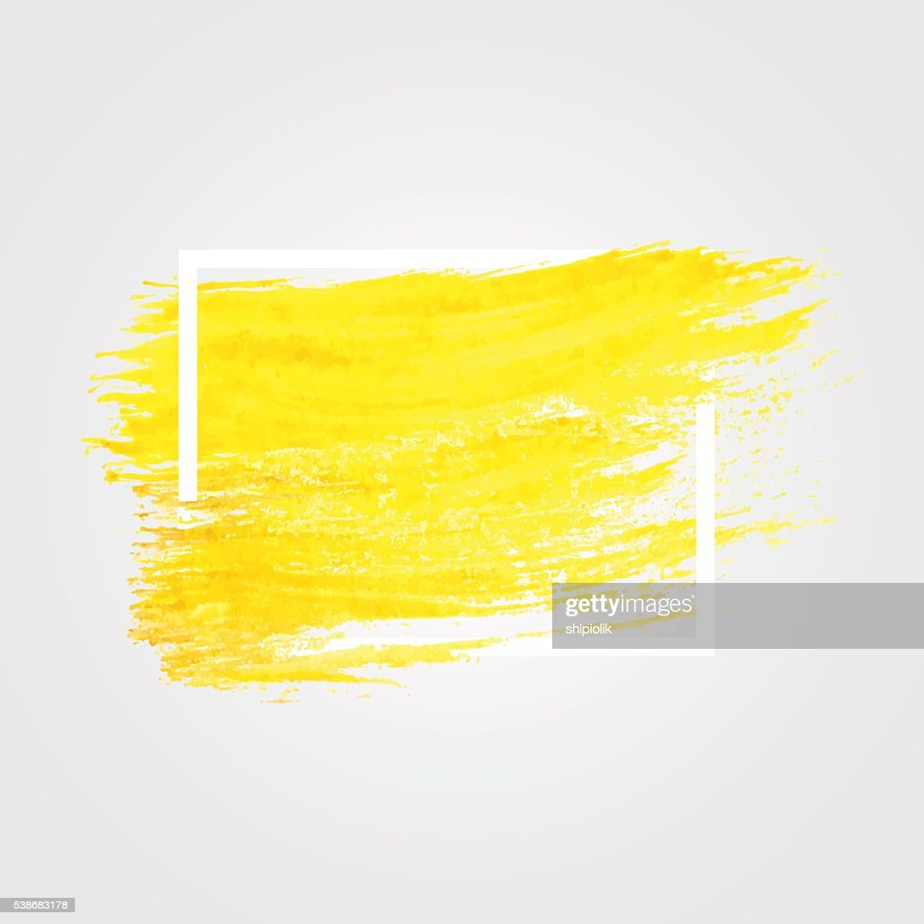 Bright yellow vector brush stroke in frame