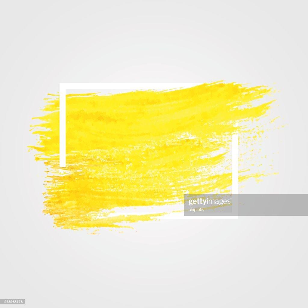 Bright yellow vector brush stroke in frame