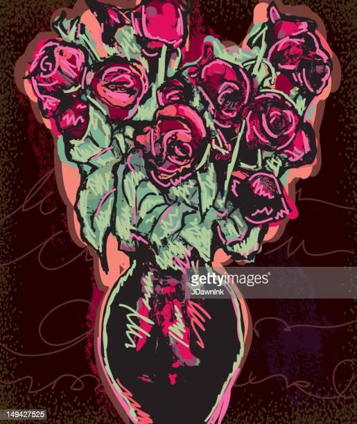 Bunten Strauß Rosen in vase