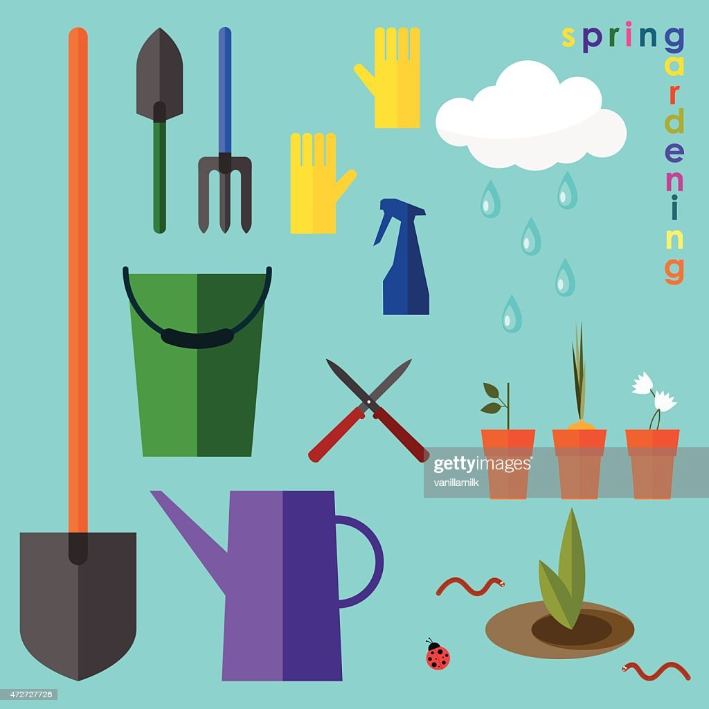 brightly colored conceptual illustration on the theme of spring gardening