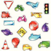 Brightly colored traffic icons