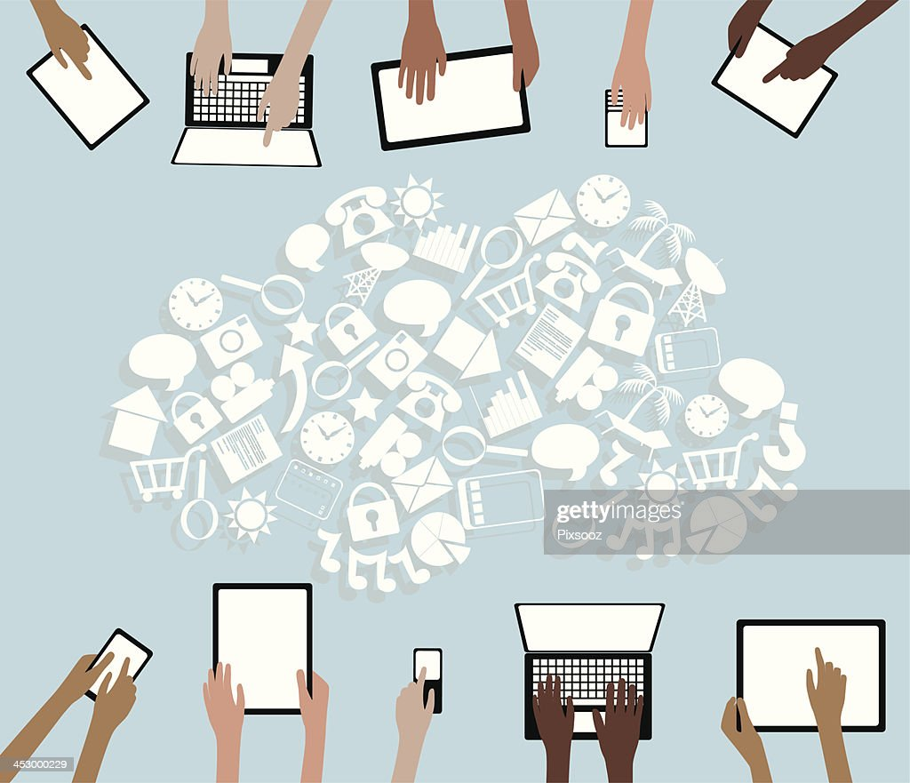 BYOD Bring your own Device Tablets Icon Cloud and Hands