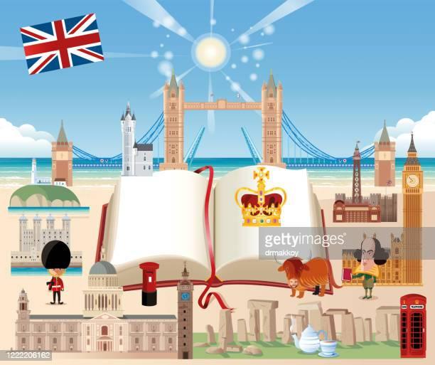 イギリスの本 - セントラル・ロンドン点のイラスト素材/クリップアート素材/マンガ素材/アイコン素材