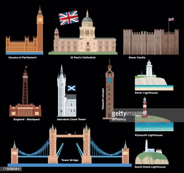 uk, britain, england symbols - blackpool tower stock illustrations