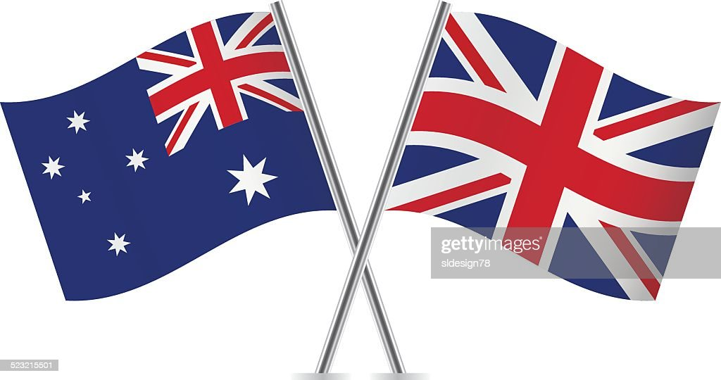 British and Australian flags. Vector.