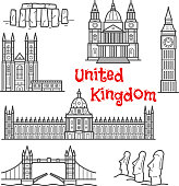 British and chilean travel landmarks sketches