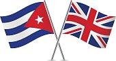British and Cuban flags. Vector.