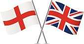 British and English flags. Vector.