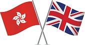 British and Hong Kong flags. Vector.