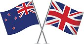 British and New Zealand flags. Vector.