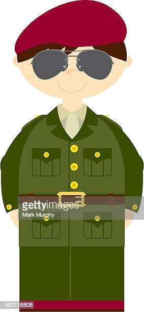 Soldat de l'armée britannique avec des lunettes de soleil